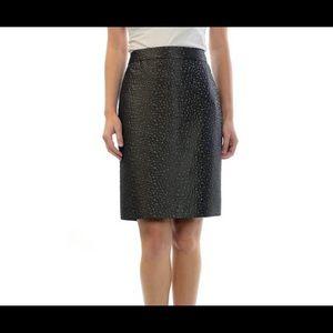 [J. Crew] Shiny Textured Dot Brown Pencil Skirt